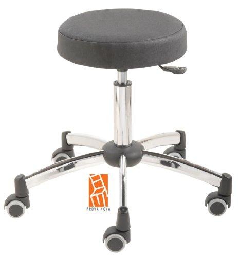Arbeitshocker, Arzthocker, Drehhocker, Rollhocker Modell steel Hubbereich ca. 44 - 58 cm, Rollen mit weicher Radbandage, Sitzfarbe schwarz