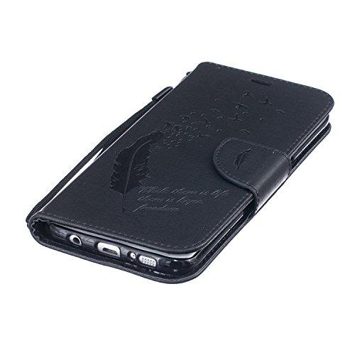 Galaxy S7 Edge Hülle,Galaxy S7 Edge Schutzhülle,Galaxy S7 Edge Case,Galaxy S7 Edge Leder Wallet Tasche Brieftasche Schutzhülle,ikasus® Prägung Klee Blumen Muster PU Lederhülle Flip Hülle im Bookstyle  Feder Vögel:Schwarz