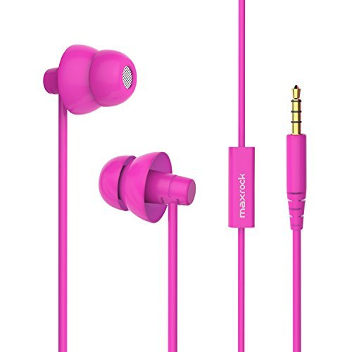 MAXROCK (TM) Super Mini Total Soft Silicon Earbuds Headphones with Mic Music Sleep Choice for Cellphones Ipad Tablet Mp3 Laptop and Most 3.5mm Audio Player (Pink)