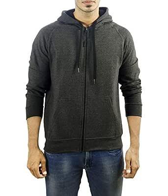 Ruffty Men's Cotton Hoodie Fullsleeve Sweatshirt (Black Melange, Small)