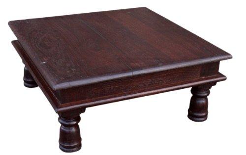 Guru-Shop Mini Table Banc Fleur D`environ 30x30 cm, Teck, Tables Basses