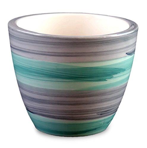 Homescapes Mini Ceramic Pot, Elegant Grey Green Stripes