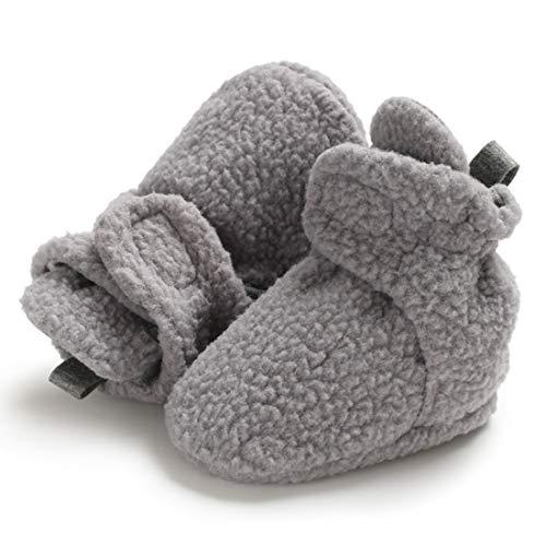 Sabe Babyschuhe für Jungen und Mädchen, warm, Fleece, weiche Sohle, Unisex, mit Riemen, Rutschfest, für den Winter, Geschenk zum ersten Geburtstag, D-Grey - Größe: 6-12 ()