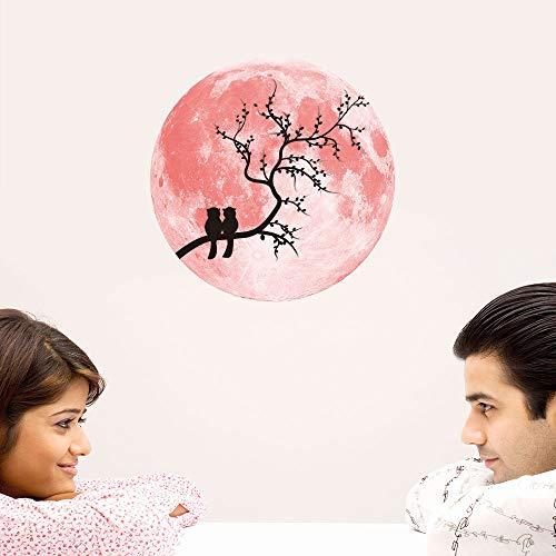 Amphia - 30cm rosa Liebe leuchtender Mond Wandaufkleber.Rosa -
