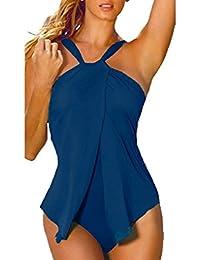 BienBien Donna Solido Costumi da Bagno Un Pezzo Interi Brasiliana Bikini Backless Sweet Sexy Monokini Swimsuit Moda Swimwear Ragazza Senza Schienale Tankini Piscina Beachwear Estate Spiaggia