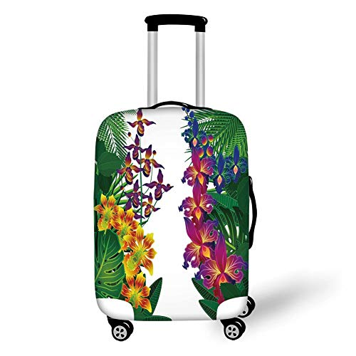 Travel Luggage Cover Suitcase Protector,Leaf,Flower Kahili Ginger Bamboo and Orchid Vivid Colored Tropic Accents Decorative,Purple Yellow and Dark Green,for Travel,L -