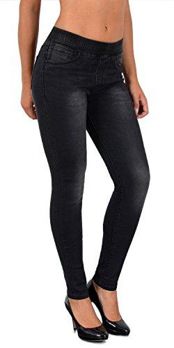 by-tex Damen Jeans Hose Damen Skinny Jeanshose Jeggings mit Gummibund Skinnyjeans bis große Größen J291 (Size Elasthan Plus Jeans)