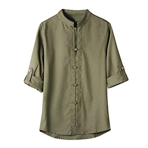 Yvelands Herren Leinen Bluse klassischen chinesischen Stil Kung Fu Shirt Tops Tang Anzug 3/4 Ärmel Leinen Bluse(CN-3XL,Grün)