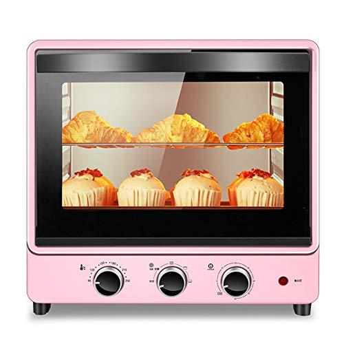 Toaster oven Mini Horno con LáMpara De Pared De Bajo Consumo De EnergíA, FáCil De Limpiar con Revestimiento Sin Aceite, Bandeja para Hornear Y Parrilla, Potencia De CoccióN De 1500 W, 30l Rosa