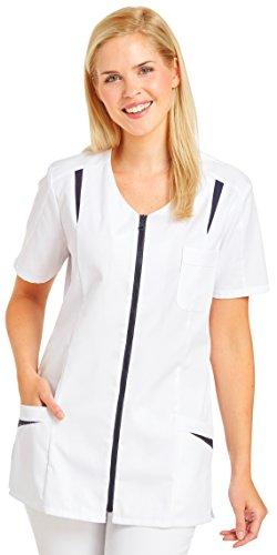 clinicfashion Kurzkasack weiß/marine für Damen, Mischgewebe, Größe 36-52 Weiß/Marine
