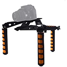 Mcoplus plegable DSLR hombro Rig–Set 107d Película Kit Sistema de soporte de hombro de cámara para Canon, Nikon, Sony, Panasonic, Sony DSLR Cámaras Videocámaras, de vídeo, como 1d 5d mark ii iii 6d 7d 60d Rebel T5i T4i T3i T2i Nikon D4D800D7000Sony DSR-PD198P NEX