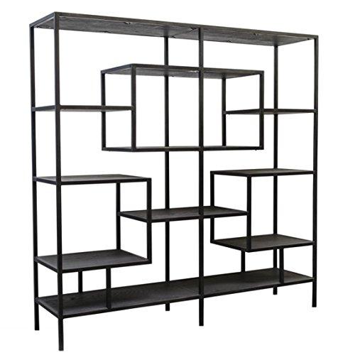 Casa-Padrino diseño Armario de la estantería Negro 160 x 40 x H. 160 cm - Mueble de Sala de Estar de Lujo