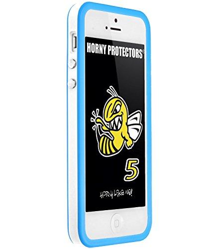 Horny Protectors Cover Case Bumper Schutzhülle für Apple iPhone 5 TPU Silikon lila/schwarz Weiß Orange