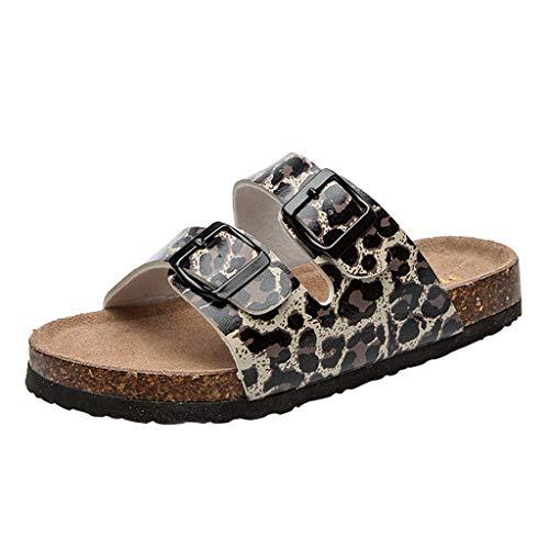 ♥ Sandales Femmes Plates Chaussures de Plage à Double Boucle Pantoufles en léopard pour Femme Sandales à Bouts antidérapants
