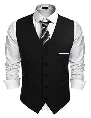 Burlady Herren Western Weste Herren Anzug Weste V-Ausschnitt Ärmellose Westen Slim Fit Anzug Business Hochzeit - L/s Western Shirt
