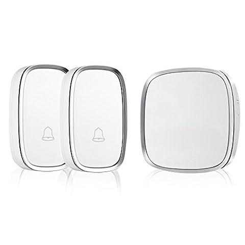 Refoss Smart Wireless Sonnette avec 2 boutons Transmetteurs à distance (piles fournies) et 1 Plugin récepteur fonctionnant à 500 pieds de portée avec 36 Melodies, CD qualité sonore et LED Flash, Blanc