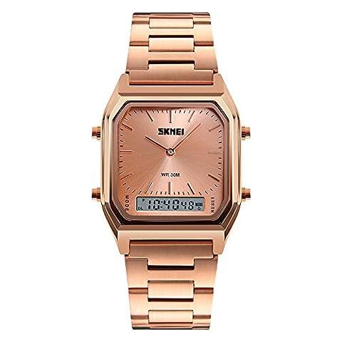 XLORDX SKMEI Mode Digital Analog Armbanduhr LED Rücklicht Alarm Datum Edelstahl 3ATM Wecker Wasserdicht Quarzuhr Sportuhr Rotgold