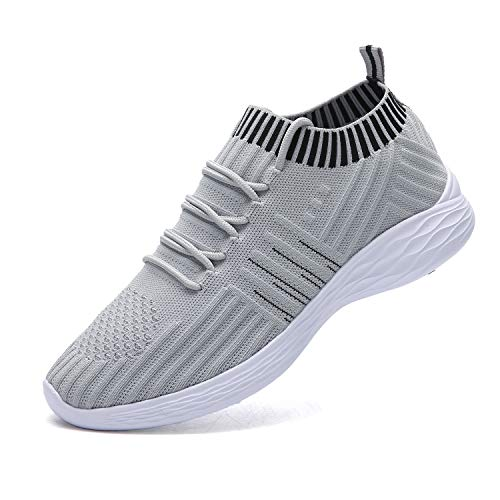 nishiguang Women Fashion Sport Shoes Walking Trainers (Casual Lightweight Breathable) Mesh Running Shoes(grey37) Mesh-trainer