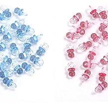 MINGZE 100 piezas de acrílico plástico lindo azul y rosa pequeños chupetes para decoraciones de la