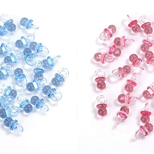 MINGZE 100 Stück Acryl Kunststoff Niedlich Blau und Pink Kleine Schnuller für Baby Dusche Dekorationen, Table Scatter, Party Favors, Spiele und Aktivitäten