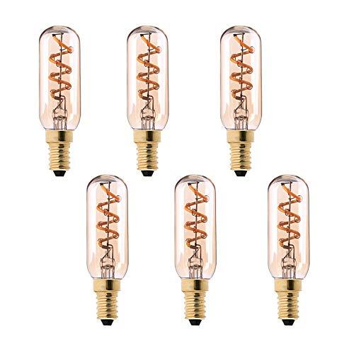 Century Light - T25 LED Röhrenlampe - 3W LED Edison Flexible Spiral-Glühlampe - 15 Watt Glühlampenäquivalent - E14 Kerzenständer -Ultra Warm White 2200K - Nicht dimmbar - 6 Pack -
