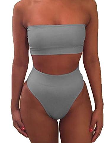 Womens Strapless Bandeau Bikini Set Two Pieces Padded Swimsuit Swimwear Beachwear,Bikini (S, Grey)