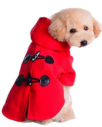 La Vogue-Abito da Cane Abbigliamento Caldo Giacca con Cappuccio per Animale Busto 36cm Rosso