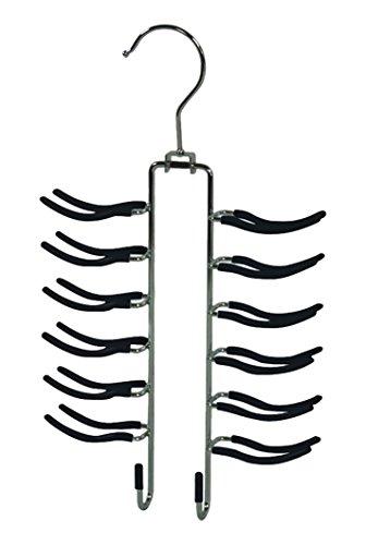Metall-Krawatten-Grtelhalter-fr-24-Krawatten-und-4-Grtel-Anti-Rutsch-Gummi-Hangerworld