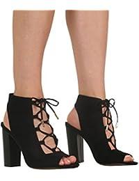 PILOT® lacer peep toe talon ouvert bottes de chaussures