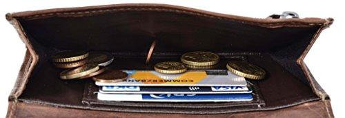 Gusti Leder studio portamonete portafoglio banconote monete documenti vintage vera pelle marrone 2A62-22-6