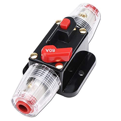 Auto-Reset-Schalter, Droking 12 V DC 80 A Car-Audio-Inline-Sicherungsautomat Sicherungs-Dual-Leistungsschalter für Systemschutz Car-audio-typ