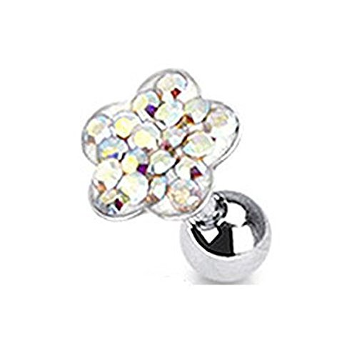 Blume Daisy Hund Kostüme (Aurora Borealis Kristall Cluster Daisy Blume Tragus oder Knorpel Piercing Dicke: 1.2mm Länge: 6mm Material:)