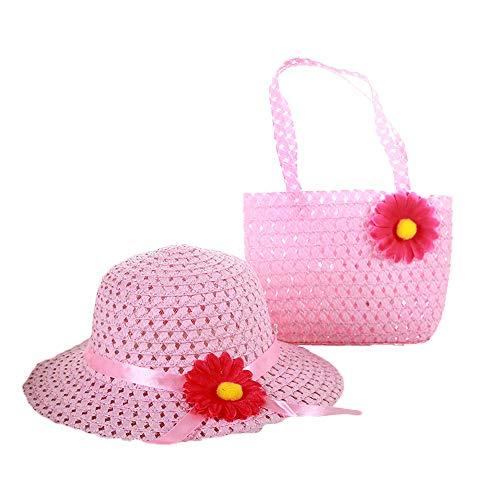 DAYOLY Mädchen Hut Sommer Sonnenhut Prinzessin Stroh Baby Sun Hut UV Schutz mit Blumendekor und Handtasche für Outdoor Reise (Rosa)