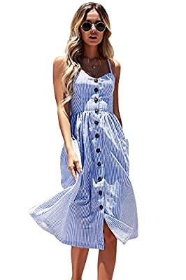 Miss Floral® Women's Bardot Button Through A-Line Midi Strappy Dress 23 Style Size 6-20