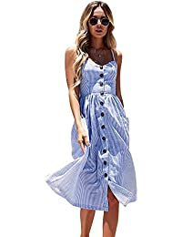 b5d53e8aed573 Miss Floral Women s Bardot Button Through A-Line Midi Strappy Dress 23  Style Size 6