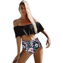 80dd2a1fb836 TIMEMEAN Costumi da Bagno Bikini A Vita Alta Donna Push Up Costumi da Bagno Donna  Costumi