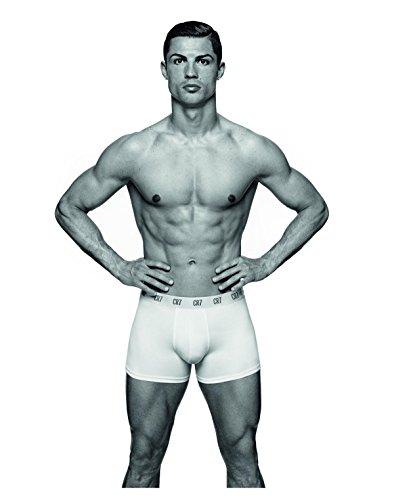 CR7 CRISTIANO RONALDO Herren Enganliegende Boxershorts Basic Trunk 3-Pack White