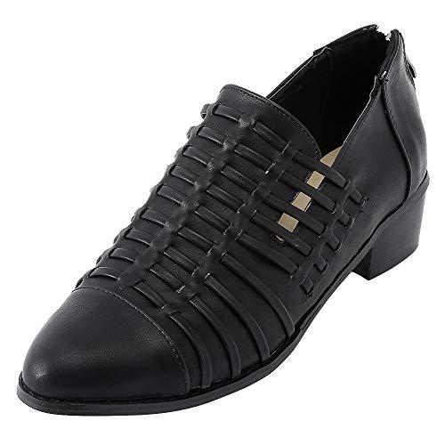 Damen Flat Heels Schuhe SHOBDW Frauen Spitz Stiefel Reine Farbe Booties mit Reißverschluss quadratische Ferse Einzelne Schuhe Sommer Atmungsaktiv Cool Kunstleder Lederschuhe