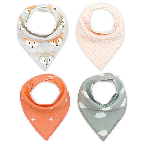 ASCHOEN 4er Baby Dreieckstuch Lätzchen liebevoll gestaltete Dreieckstücher für Kinder aus Baumwolle, Spucktuch Mit Druckknöpfen Multifunctional, größenverstellbar mit Druckknopf