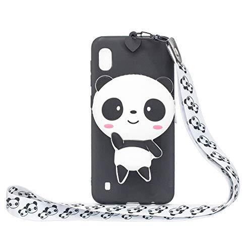 Miagon Silikon Hülle für Samsung Galaxy A10,3D Süß Brieftasche Lager Tasche Design mit Halskette Kordel Schnur Handykette Necklace Band,Panda