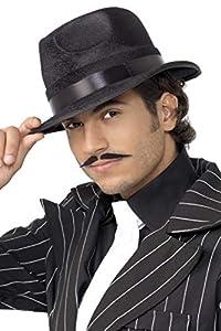 Smiffys Sombrero de Gangster, Indestructible, Negro, con Banda de Seda