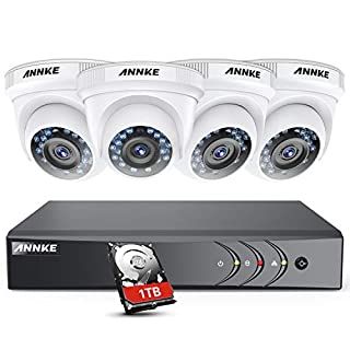 ANNKE 8CH 3MP HD TVI DVR Security System, w/1TB HDD, with 4x 1080P Starlight DE-Noise Weatherproof Camera System, Superior IR LED Night Vision, HD Over Analog/BNC, Smart Playback
