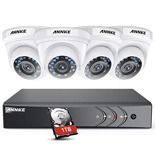 ANNKE 8CH 3MP HD TVI DVR Security System, with 4x 1080P Starlight DE-Noise  Weatherproof Dome Camera System, Superior IR LED Night Vision, HD Over