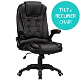 RayGar Black Luxury Faux Leather High Back Reclining Recliner Office Chair Swivel Computer