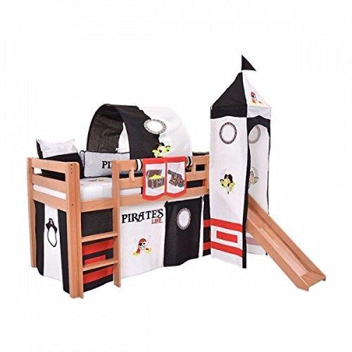 Rutschebett für Kinder Hochbett Piraten Spielbett Pirat Kinderbett 90 x 200 Piraten Piratenbett Kinderbett Hochbett Pirate, Piraten Kinderbett 90 x 200 (Natur)