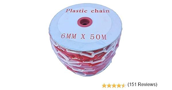 PCH-6x50.0 Cha/îne rouge et blanche en plastique de 6mm et 50 m/ètres de longueur.