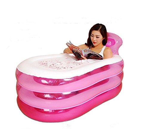 Preisvergleich Produktbild LFNRR Leicht zu tragen Aufblasbare Badewanne Badewanne verdickte nach Wanne Kunststoff faltbare Badewanne Whirlpool Badewanne für Kinder barrel Barrel, Rosa
