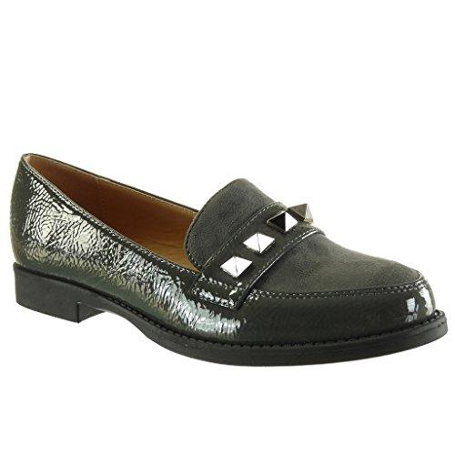 Angkorly Chaussure Mode Mocassin bi-matière slip-on femme clouté verni Talon bloc 2 CM Gris