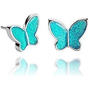 Aquablau Genial Winzige 1,2 cm Schmetterling Post-Ohrringe Schmuck Accessoire für Teen Mädchen von Dragon Porter