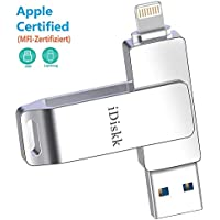 Memoria USB para iPhone y iPad [MFi Certificado] iDiskk 64GB Pendrive iPhone Flash Drive para iPad iOS PC Macbook